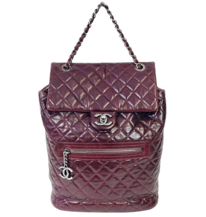 Chanel Glazed Calfskin Quilted Salzburg Backpack in Burgundy