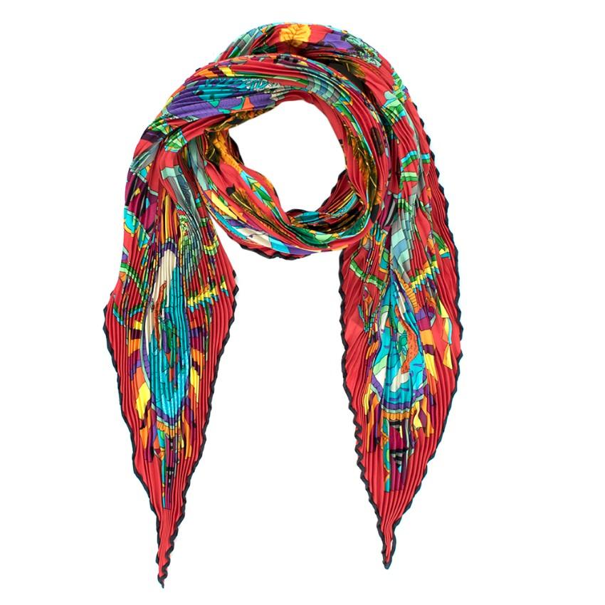 Hermes Silk L'ombrelle Magique Silk Plisse Scarf