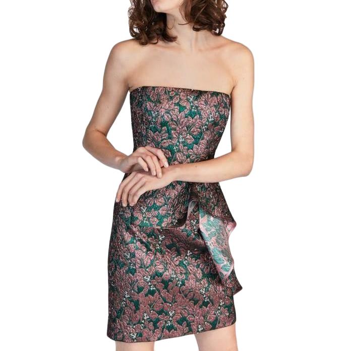 Tara Jarmon Strapless Metallic Jacquard Corset Mini Dress