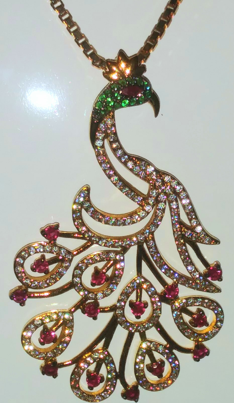 Bespoke 18kt Gold Plated Peacock Pendant Necklace
