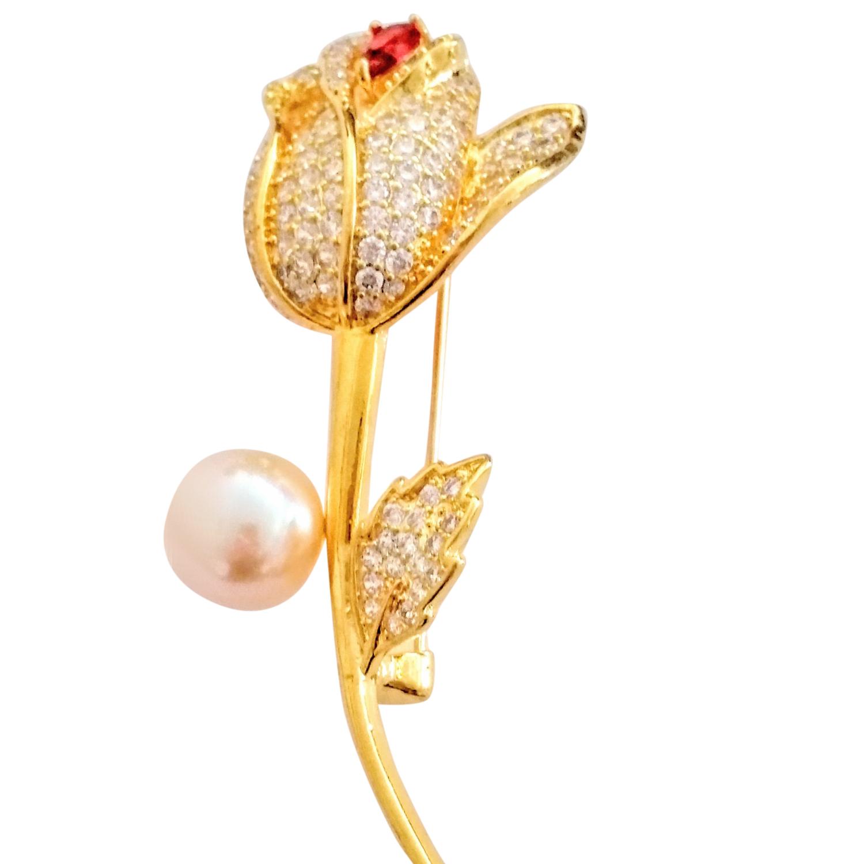 Bespoke Crystal Embellished Rose Brooch
