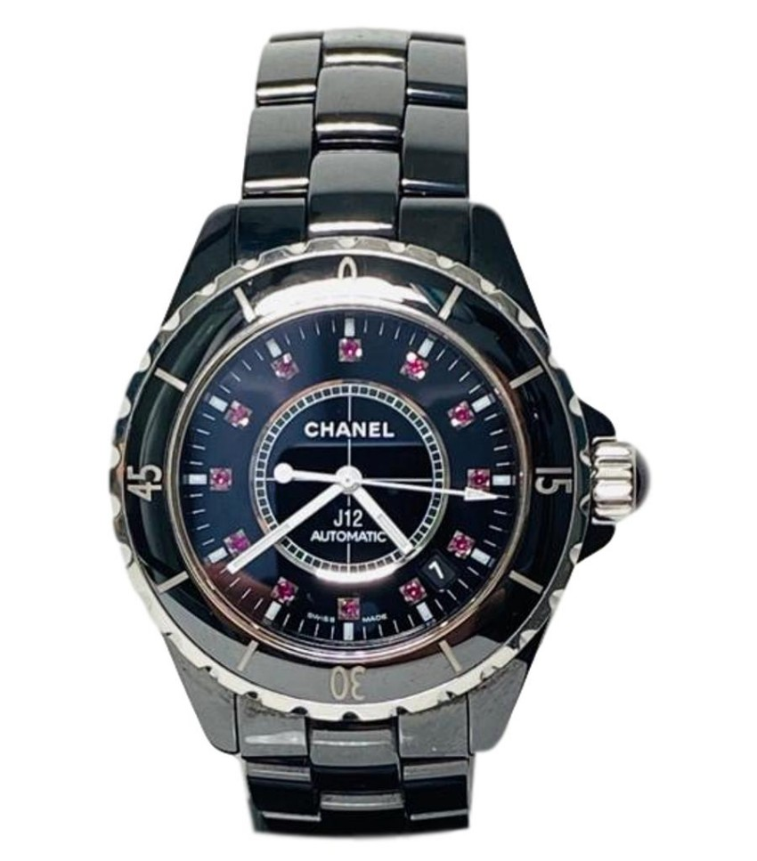Chanel 38mm J12 black ceramic ruby dot dial watch