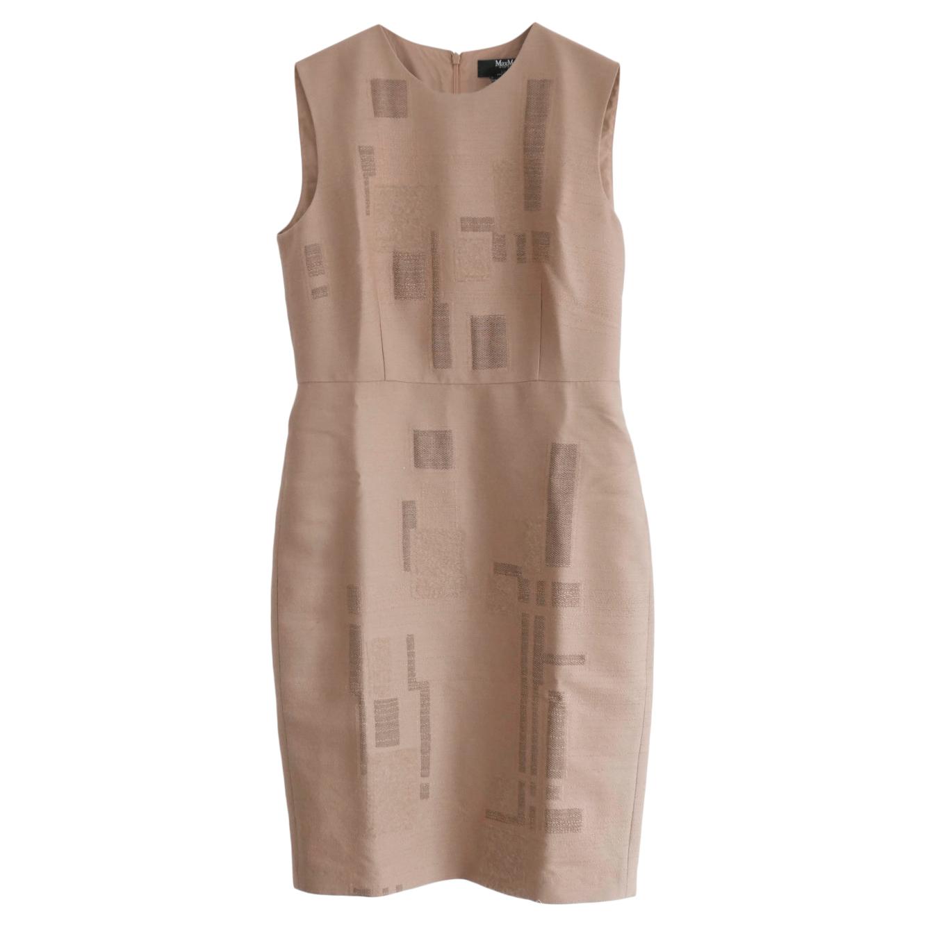 Max Mara x Liu Wei Nude Embroidered Wool Blend Dress