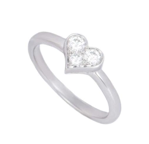 Tiffany & Co. Platinum Triple Diamond Heart Ring