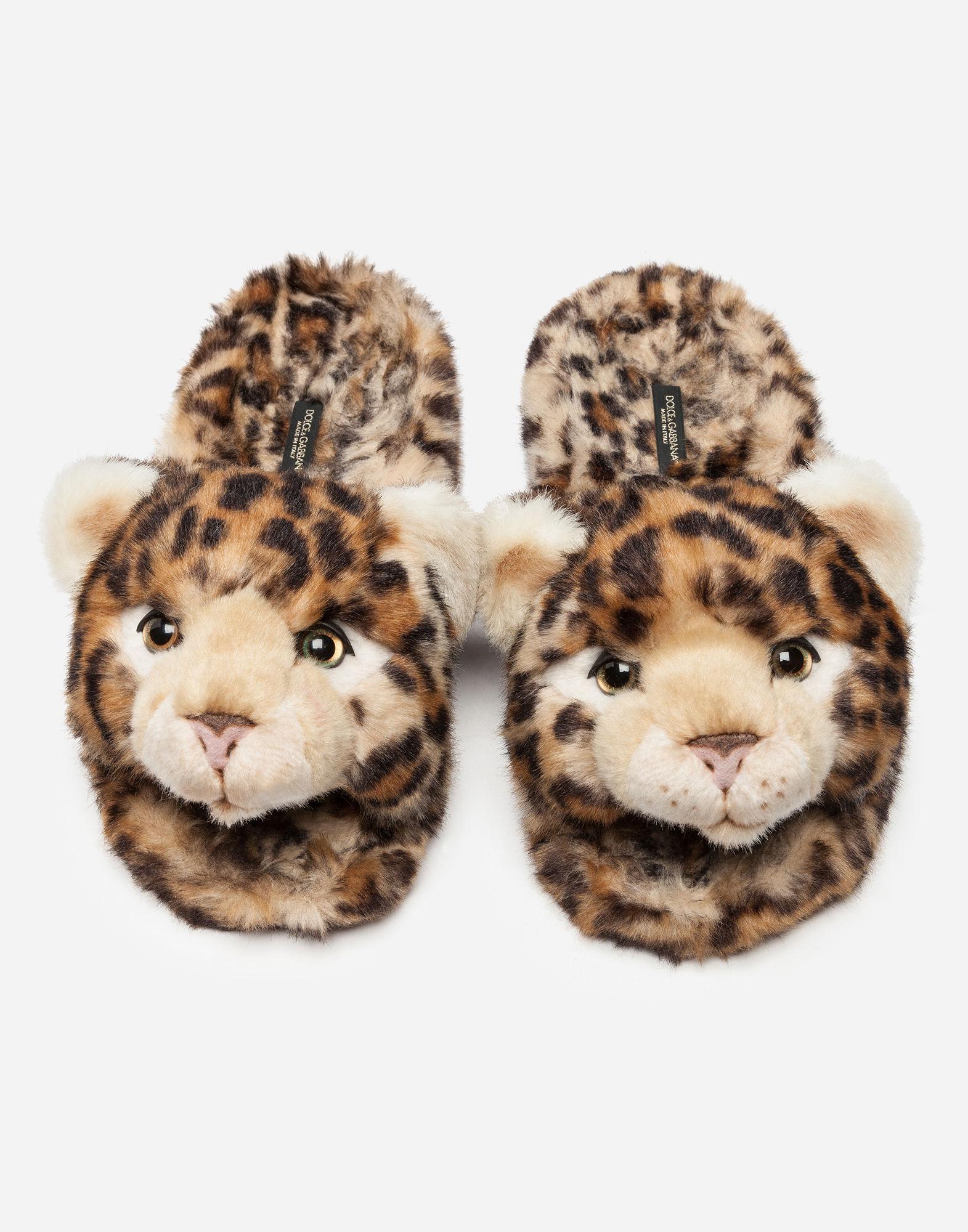 Dolce & Gabbana leopardo print faux fur slippers