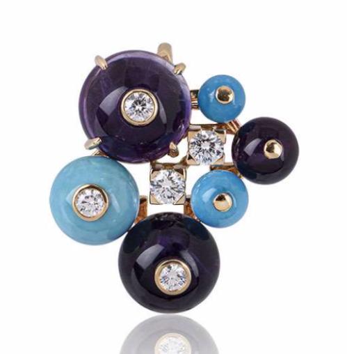 Cartier Amethyst, Turquoise & Diamond Rose Gold Pendant
