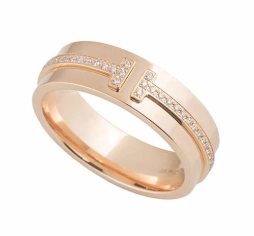 Tiffany & Co. Rose Gold Diamond T Ring