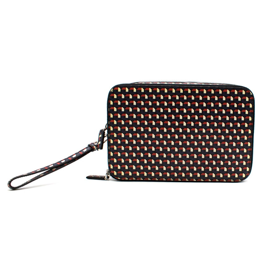 Prada Geometric Print Travel Pouch