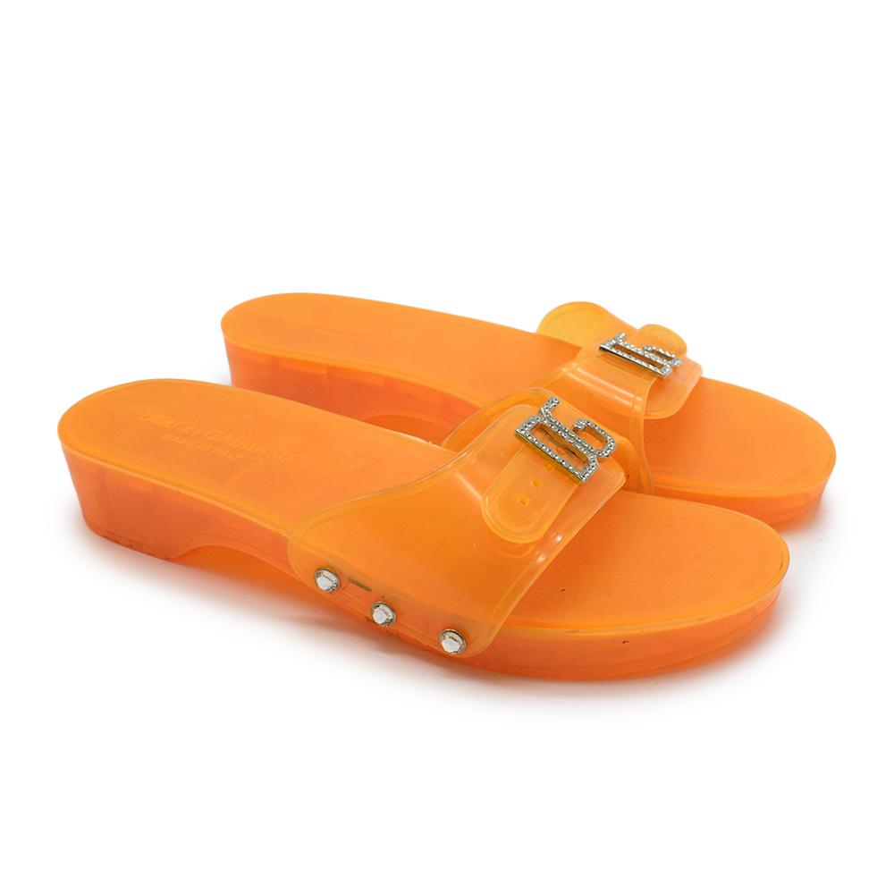 Dolce & Gabbana Orange Rubber Slides