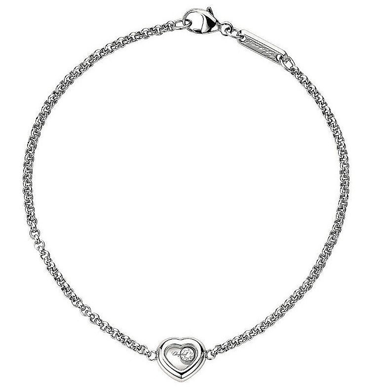 Chopard 18ct White Gold Happy Diamond Heart Pendant Bracelet