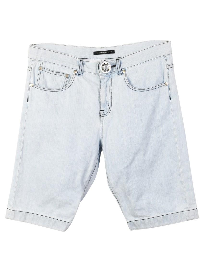 Christopher Kane Swarovski Crystal Button Denim Shorts