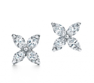 Tiffany Platinum Victoria Earrings with Marquise Diamonds
