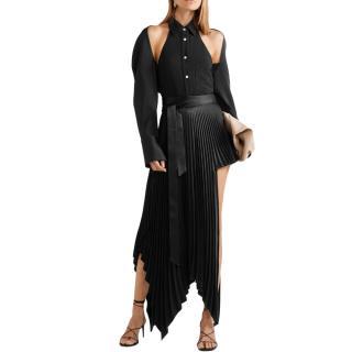 Peter Do Asymmetric pleated satin-crepe wrap mini skirt