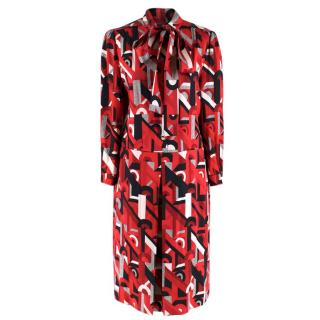 Prada Red Geometric Printed Pussy Bow Dress