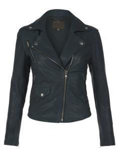 Muubaa Bottle Green leather biker jacket
