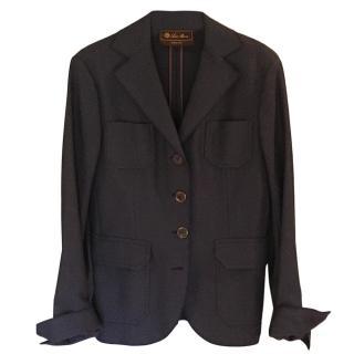 Loro Piana lightweight dark blue wool and cotton jacket