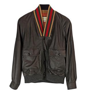 Gucci men's black leather jacket
