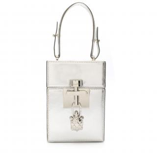 Oscar De La Renta Silver Mini Alibi Top Handle Box Bag - New Season