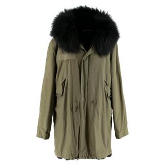 Mr & Mrs Italy Khaki Parka With Fox Fur Lining