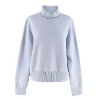 Nili Lotan Blue Turtleneck Wool & Cashmere Sweater
