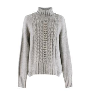 Duffy Grey Cable Knit Funnel Neck Jumper