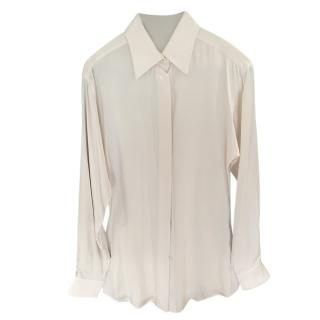 Hermes off white silk shirt
