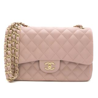 Chanel Jumbo Flap Bag in Blush Pink Lambskin