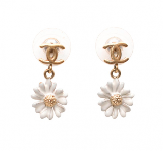 Chanel CC Daisy Drop Stud Earrings