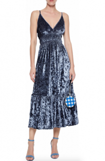 Rebecca Minkoff Mazy crushed-velvet midi dress