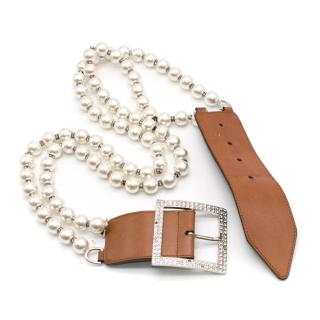 Valentino Tan Leather & Faux Pearl Crystal Buckle Belt