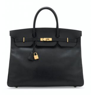 Hermes Ardennes Leather Black 40cm Birkin