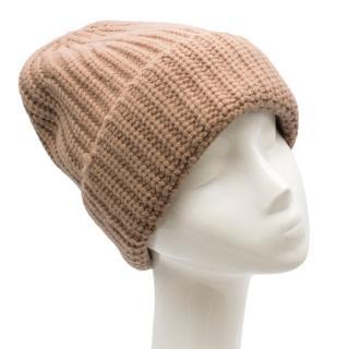 Joseph Tan Brown Soft Wool Knit Beanie Hat