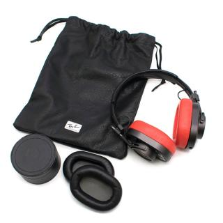 Ray-Ban XMaster & Dynamic Black And Red Leather Headphones