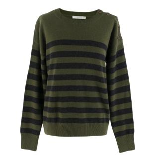Vince Green & Black Stripe Cashmere Jumper