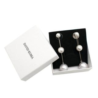 David Koma Silver Plated Faux Pearl Drop Earrings