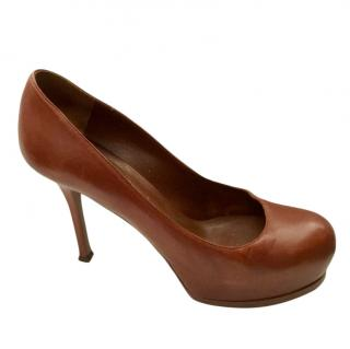 Yves Saint Laurent Brown Tribute Pumps