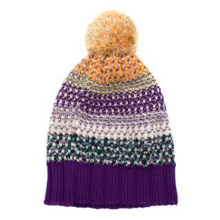 Missoni Purple Wool Knitted Hat
