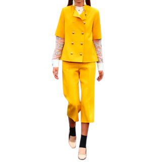 Macgraw Yellow Tailored Asymmetric Crop Suit