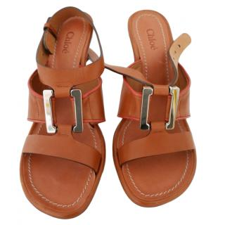 Chloe tan leather sandals