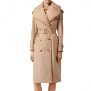 Burberry Ercu Detachable Collar Gabardine Coat