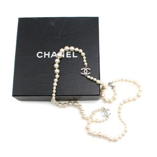 Chanel Ivory CC Faux Pearl Single Strand Necklace