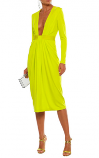 Cushnie Et Ochs Neon Deep V MIdi Dress