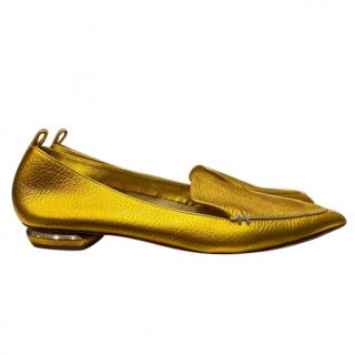 Nicholas Kirkwood Gold Leather Pointed Toe Flats