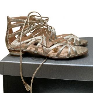 Nicolas Kirkwood Metallic Gold Gladiator Flat Sandals