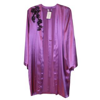 Dentelle De Calais Amethyst Silk & Lace Robe