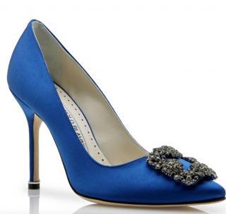 Manolo Blank blue satin hangisi pumps