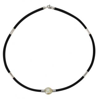Autore south sea pearl and neoprene limited edition unisex necklace