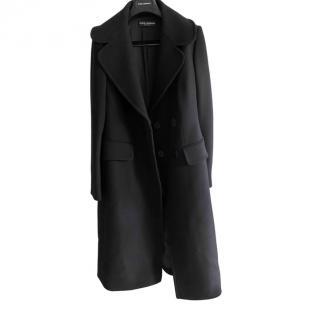 Dolce & Gabbana black wool silk lined coat