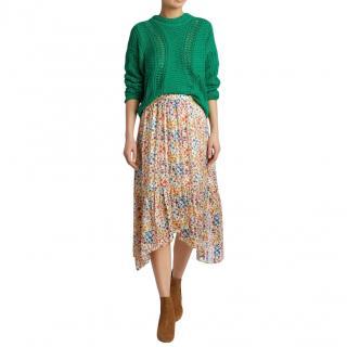 Ba&Sh Floral Asymmetric Midi Skirt