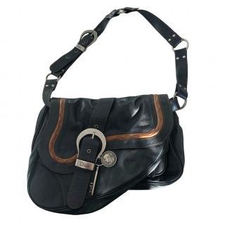 Dior Black VIntage Leather Saddle Bag